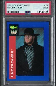 #64 1991 Classic WWF THE UNDERTAKER Rookie Portrait Wrestling Card PSA 9  MINT