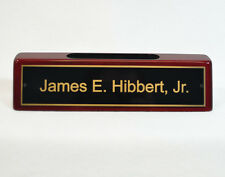 Engraved Desk Name Plate - Rosewood Block - Black Brass Plate (RW541)