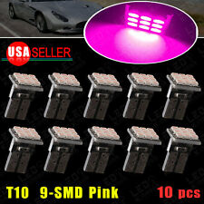 10X Purple Pink T10 W5W 192 168 Wedge 9-SMD LED Interior Dash License Light