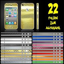 IPHONE 4S FOLIE 2D GOLD CARBON CHROM ( BUMPER COVER HÜLLE SKIN SCHEIBE )