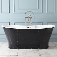 Bransdale 'rivet' freestanding Cast Iron Roll Top 'Bateau' Bath 1700mm