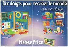 PUBLICITE ADVERTISING 095  1982  FISCHER PRICE  jeux jouets ( 2p) coll 10 DOIGTS