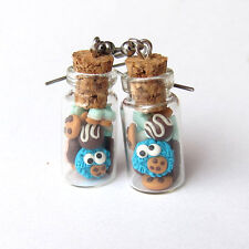 Fimo Glass Jars Funny Blue Cookie Monster Funny Miniature Food Earrings Jewelry