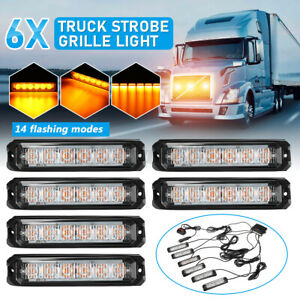 6x LED Amber Strobe Flashing Grille Grill Light Beacon Lamp Car Van Truck