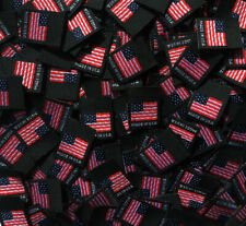 50 pcs Folded Double Sided Black Woven Clothing Sewing Label - American Flag