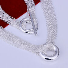 "925Sterling Silver Jewelry Lovely Many Line Mesh Circle Woman Necklace 18"" N003"