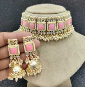 Bollywood Style Gold Plated Bridal Kundan Pearl Pink Necklace Jhumka Jewelry Set