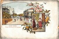 POSTCARD EGYPT  PORT - SAID  PLACE  FERDINAND DE LESSEPS