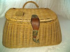 Vintage Wicker Fishing Creel With Fish Shaped Latch