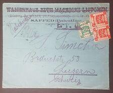 BL - Palestine 1919 SAFED cover to Switzerland via Alexandria, franked EEF stamp