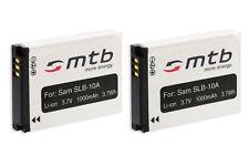 2x Batería SLB-10A SLB10A para Samsung Digimax ES50, ES55, ES60, ES63, HMX-U10