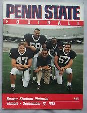 1992 PENN STATE vs TEMPLE FOOTBALL PROGRAM 9/12/92