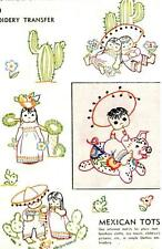 Vintage Embroidery Transfer repo 7119 Mexican Tots for Quilts Towels Curtains