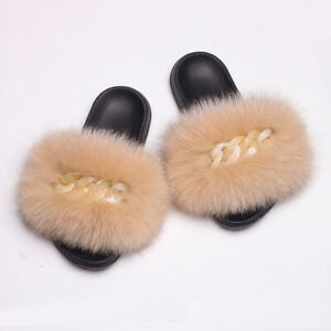2021 Women Furry Real Fluffy Fox Fur Slippers Chain Furry Sliders Sandals Shoes