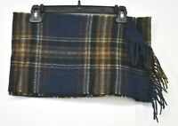 Barbour Mens Colorblock Winter Fringe Casual Soft Elwood Plaid Wool Scarf OS