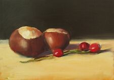 Oil Painting, Conkers & Red Berries; Original impressionist still life picture.