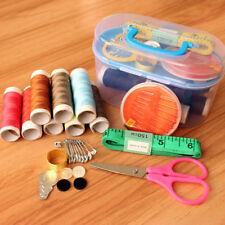 1set Sewing Box Needle Threads Box Kits Storage New Scissor Thimble Buttons Tool