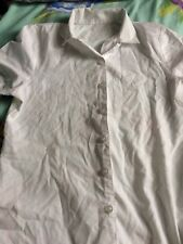 Girls George White Open Necked Short Sleeved School Blouse Age 10-12 Years