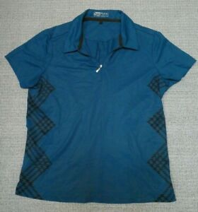 Nike Golf FitDry women's teal/brown print stretch short-sleeve golf shirt M 8-10