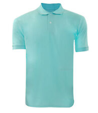 Men's Poly Cotton Plain Pique Polo Casual PK Top Ribbed Collar T- Shirt M MINT