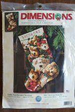 Dimensions Needlepoint Kit Teddy Togetherness Stocking #9136 Christmas Holiday