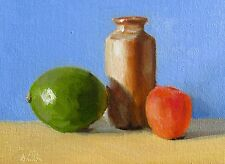 Oil Painting canvas Lime, Apricot & Pot. Classical Still Life Original. J Smith
