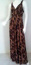 Ladies Barkins Leopard Animal Print Maxi Dress Rockabilly Size 8