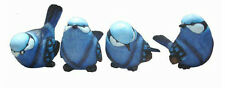 Cute Set of 4 Resin BLUE WREN BIRDS Figurine Ornaments Home Decor - Large