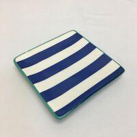 "Blue & White Striped Square Ceramic Trinket Dish / Tray, 4"" x 4"", Brand New"