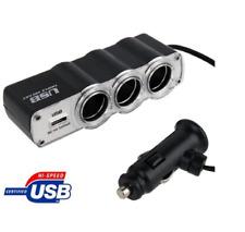 AMZER 12V / 24V Triple Socket USB Car Charger - Black