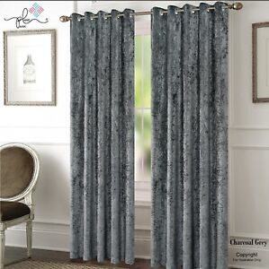 CHARCOAL GREY CRUSHED VELVET WINDOW CURTAINS READY MADE LINED EYELET RING TOP