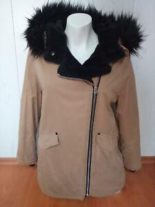 Zara girl Mantel Jacke  Winterjacke im Bikerstil Gr. 164, Gr.36-38 beige/schwarz