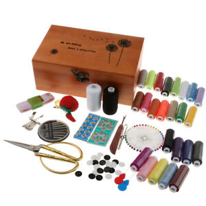 Portable Sewing Kit with Wood Box Sewing Supplies for DIY Crafts Accessories