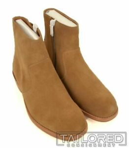 NWB $395 - COACH West Suede Camel Mens Shoes Zip Ankle Boots G1670 - Size 9