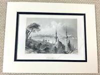 1860 Antique Engraving Print Constantinople Landscape Turkey Minaret Mosque