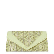 NEW Ruby Shoo Manila Clutch Bag Textured Lemon Pink Fabric Polly