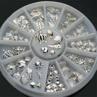 120Pcs/Box 3D Metal Nail Art Decoration Ocean Accessories Silver Shell Conch