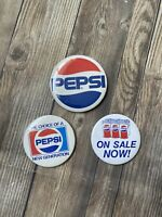 PEPSI COLA ADVERTISING PINBACK BUTTON - The Choice of a new generation Lot Of 3