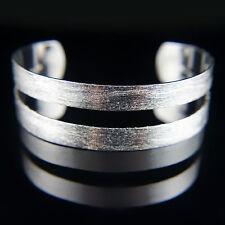 Silver elegant solid large bangle bracelet