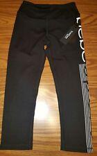 NWT Bebe Sport Capri Leggings Logo Pants Yoga Running BLACK Women's XS