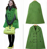 Fashion Gossip Girl double breasted Womens warm woolen cape jacket outwear coats
