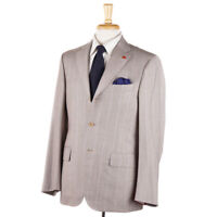 NWT $3995 ISAIA Light Brown-Lavender Stripe Super 140s Wool Suit 40 R (Eu 50)