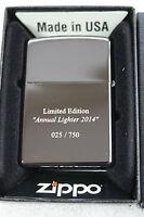 "NEU! Zippo Limited Edition ""Annual Lighter 2014"" (2001.562 Ebony) sehr rar"