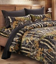 BLACK CAMO 6pc King SHEETS SET : HUNTER CAMOUFLAGE WOODS CABIN TREE HUNTING