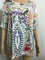 BLUE SOUL SIZE L GORGEOUS FLORAL AND BIRD PRINT BELL SLEEVE BOHO TOP