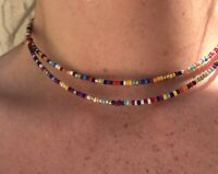 Handmade Jewelry 2-stranded Choker Necklace Multicolored Beads & Stainless Steel