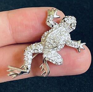 "SWAROVSKI Silver Tone Clear Stone Frog Animal Brooch MARKED 1 3/4"" Repair M01"
