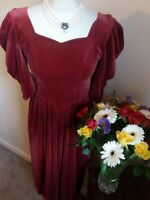 Vintage Velvet Dress Size 10 Laura Ashley Steampunk Party Ball Victorian Red