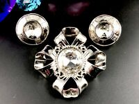 GIVENCHY SILVER-TONE HEADLIGHT RHINESTONE RIBBON BOW BROOCH CLIP EARRINGS SET