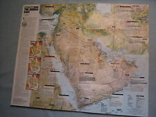 THE MIDDLE EAST MAP PHYSICAL & POLITICAL  National Geographic February 1991